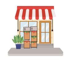 magasin avec tente et légumes dans des boîtes