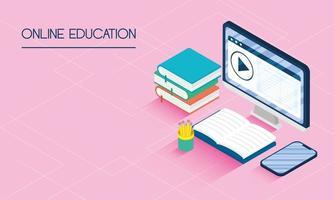 éducation en ligne et bannière e-learning avec ordinateur