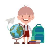 garçon étudiant avec des fournitures scolaires sur fond blanc