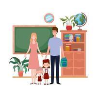 couple de parents avec personnage avatar enfants vecteur