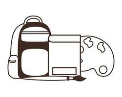 silhouette de l'école de sac à main avec des cahiers