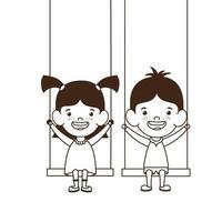couple bébés sur balançoire souriant vecteur