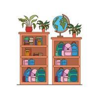 étagère avec des livres scolaires.