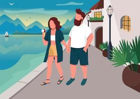 couple marchant sur le front de mer