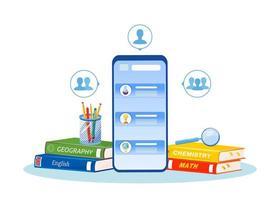 tutorat en ligne sur smartphone vecteur