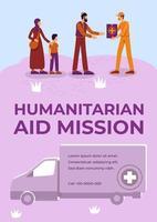 affiche de mission d aide humanitaire vecteur