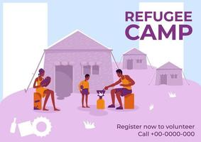 affiche du camp de réfugiés vecteur