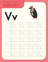 feuille de calcul de traçage alphabet avec lettre v et v