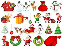 Ensemble de personnage de dessin animé de père Noël et objets de Noël isolés sur fond blanc
