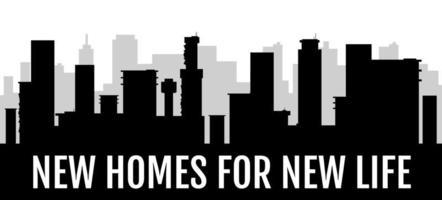 nouvelles maisons pour une nouvelle vie bannière silhouette noire vecteur