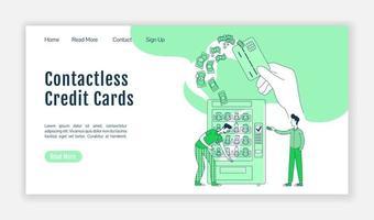 page de destination des cartes de crédit sans contact vecteur