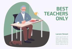 meilleur professeur seulement bannière vecteur