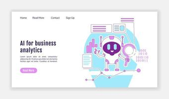 page de destination de l'IA pour l'analyse commerciale vecteur