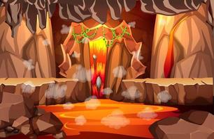 grotte sombre infernale avec scène de lave vecteur