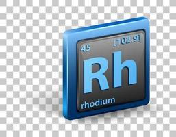 élément chimique rhodium. symbole chimique avec numéro atomique et masse atomique. vecteur