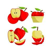 ensemble de fruits pomme rouge vecteur
