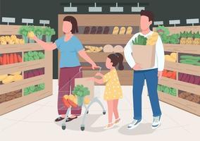 famille au supermarché vecteur