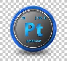 élément chimique en platine. symbole chimique avec numéro atomique et masse atomique.
