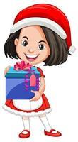 jolie fille en costume de noël tenant le personnage de dessin animé de boîte cadeau