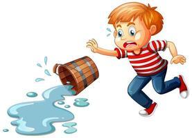 Un garçon avec de l'eau renversée isolé sur fond blanc vecteur