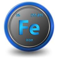 élément chimique de fer. symbole chimique avec numéro atomique et masse atomique. vecteur