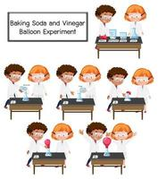 Scientifique expliquant l'expérience scientifique de ballon de bicarbonate de soude et de vinaigre