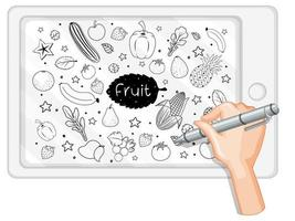 dessin à la main des fruits en style doodle ou croquis sur tablette