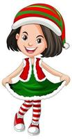 jolie fille portant des costumes de noël personnage de dessin animé