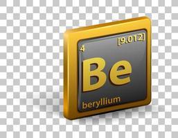 élément chimique béryllium. symbole chimique avec numéro atomique et masse atomique. vecteur