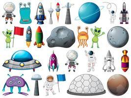 ensemble d'objets spatiaux et d'éléments isolés sur fond blanc