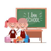 étudiantes avec des fournitures scolaires dans la salle de classe
