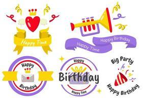logos d'étiquette de fête d'anniversaire pour bannière vecteur
