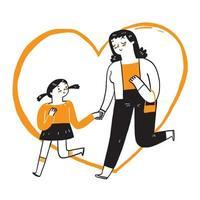 mère marche joyeusement main dans la main avec sa fille vecteur