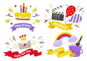 logos d'étiquettes de fête pour bannière vecteur