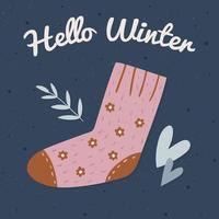 carte d'hiver dessinée à la main avec chaussette vecteur