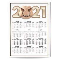 calendrier taureau blanc 2021 vecteur