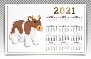 calendrier 2021 taureau blanc et rouge vecteur