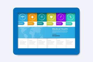 vecteur, résumé, soins de santé, science, icône médicale, concept, fond