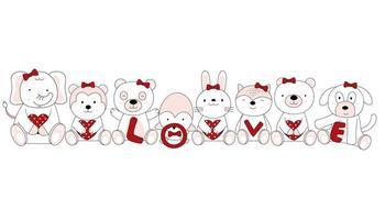 adorables bébés animaux avec coeurs et texte d'amour