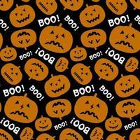 modèle sans couture halloween avec citrouille et texte boo. vecteur