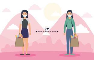 femmes avec des masques faciaux pratiquant la distanciation sociale à l'extérieur vecteur