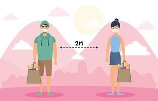 personnes avec des masques faciaux pratiquant la distanciation sociale à l'extérieur vecteur