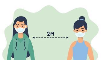 femmes avec des masques faciaux pratiquant la distanciation sociale vecteur