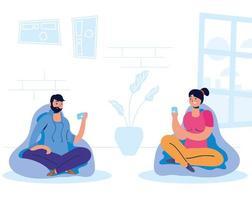 couple sur le smartphone à la maison vecteur