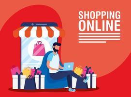 bannière de magasinage en ligne et de commerce électronique
