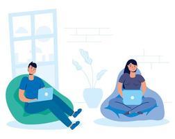 couple sur l'ordinateur portable à la maison vecteur