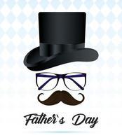 carte de fête des pères avec chapeau haut de forme élégant