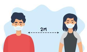 personnes avec des masques faciaux pratiquant la distanciation sociale vecteur