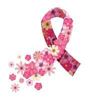 ruban rose avec des fleurs de sensibilisation au cancer du sein vecteur