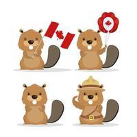 bonne fête du canada avec de jolies icônes de castor vecteur